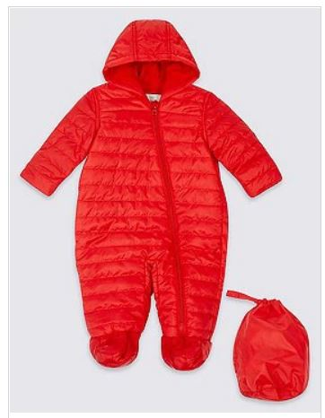 red snowsuit